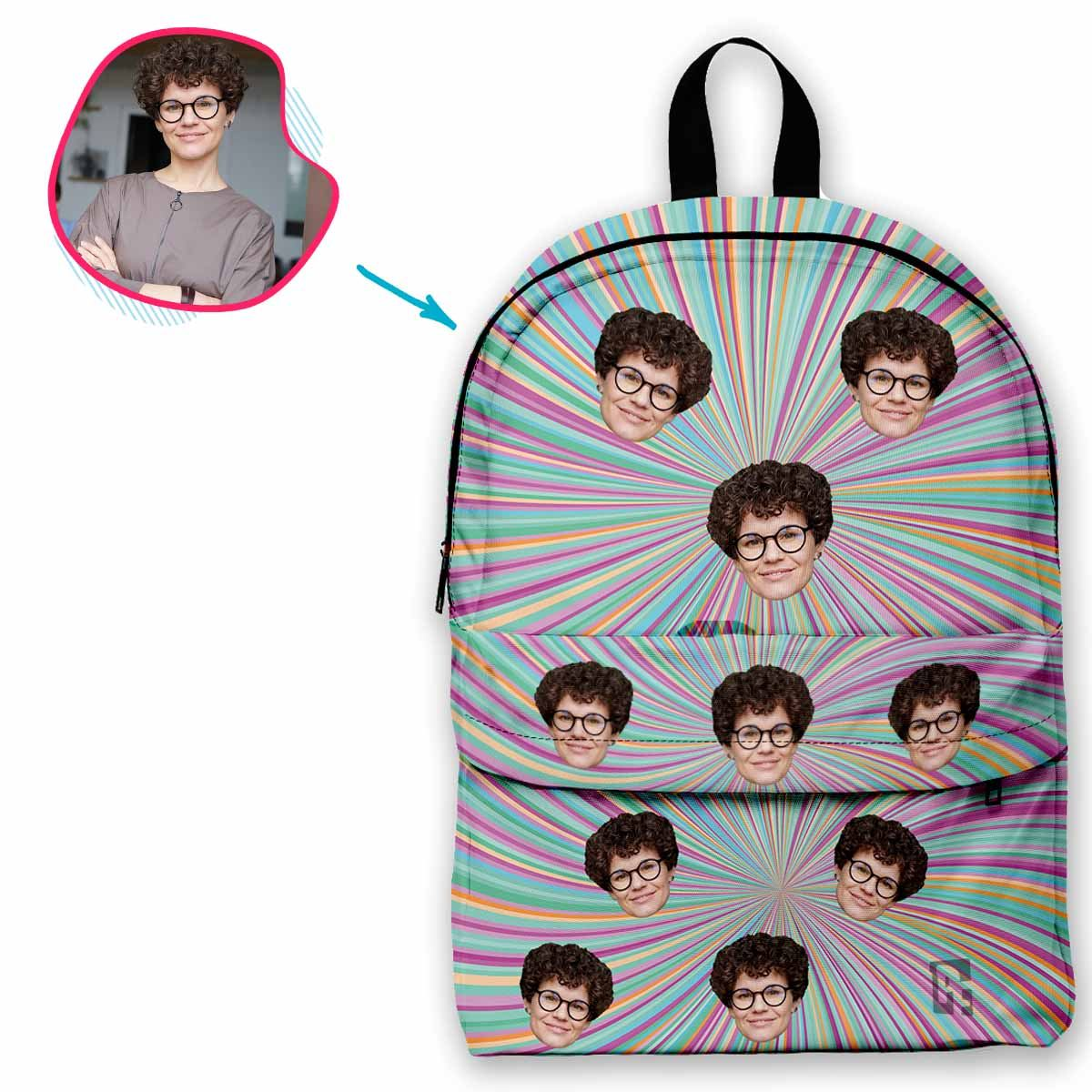 cat mash classic backpack personalized with photo of face printed on it