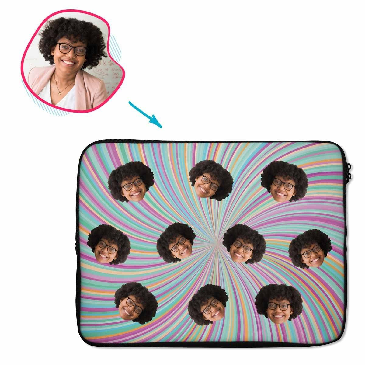 fantasy Fantasy laptop sleeve personalized with photo of face printed on them