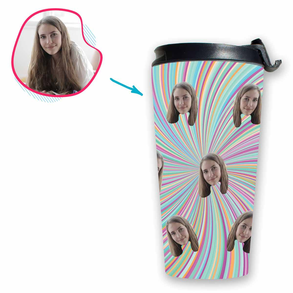 fantasy Fantasy travel mug personalized with photo of face printed on it