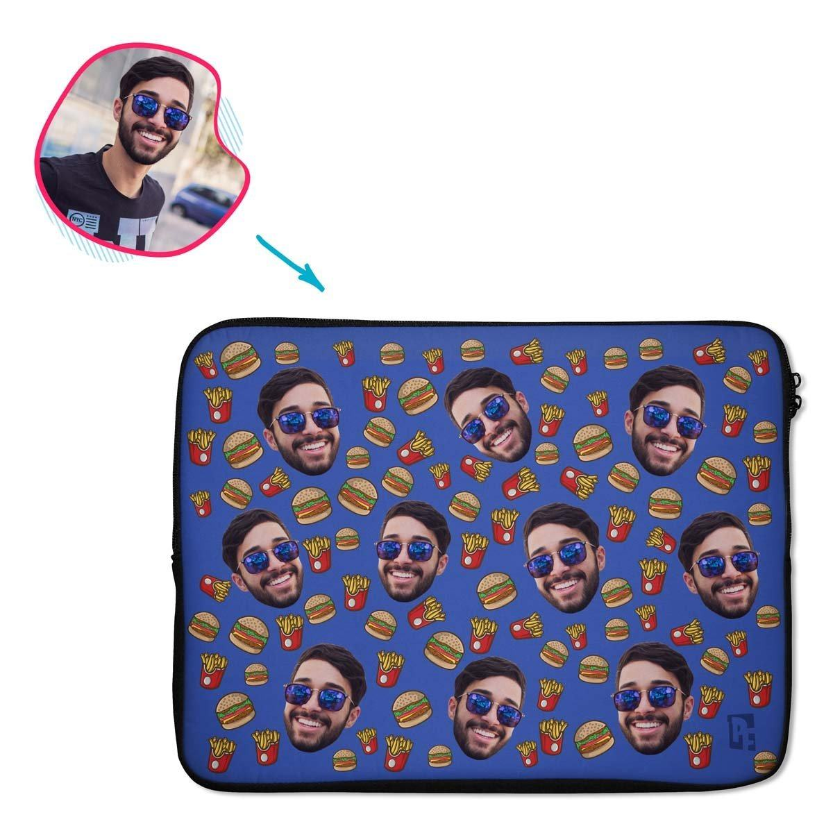 darkblue Fastfood laptop sleeve personalized with photo of face printed on them