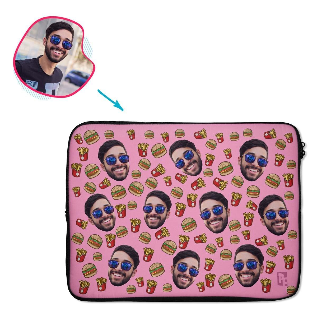 pink Fastfood laptop sleeve personalized with photo of face printed on them