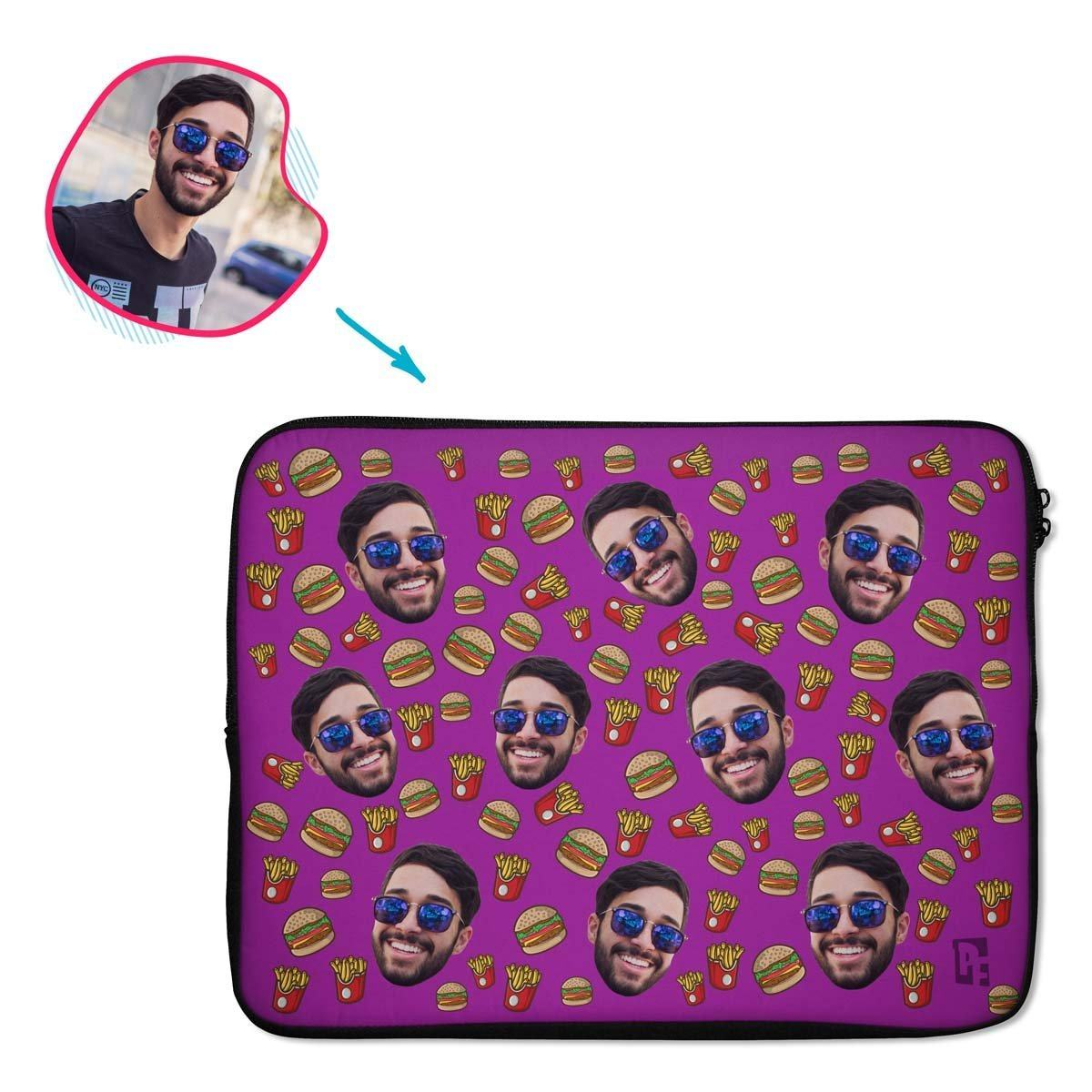 purple Fastfood laptop sleeve personalized with photo of face printed on them