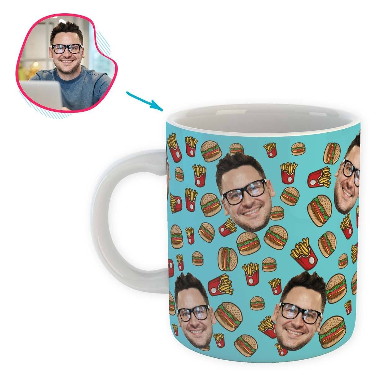 blue Fastfood mug personalized with photo of face printed on it