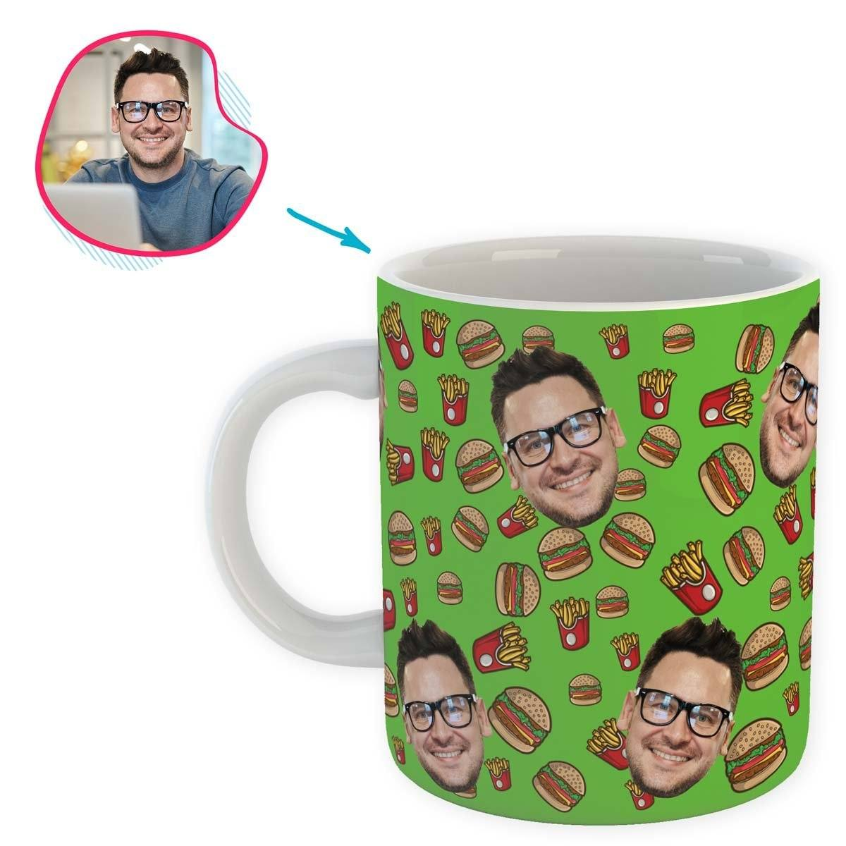 green Fastfood mug personalized with photo of face printed on it