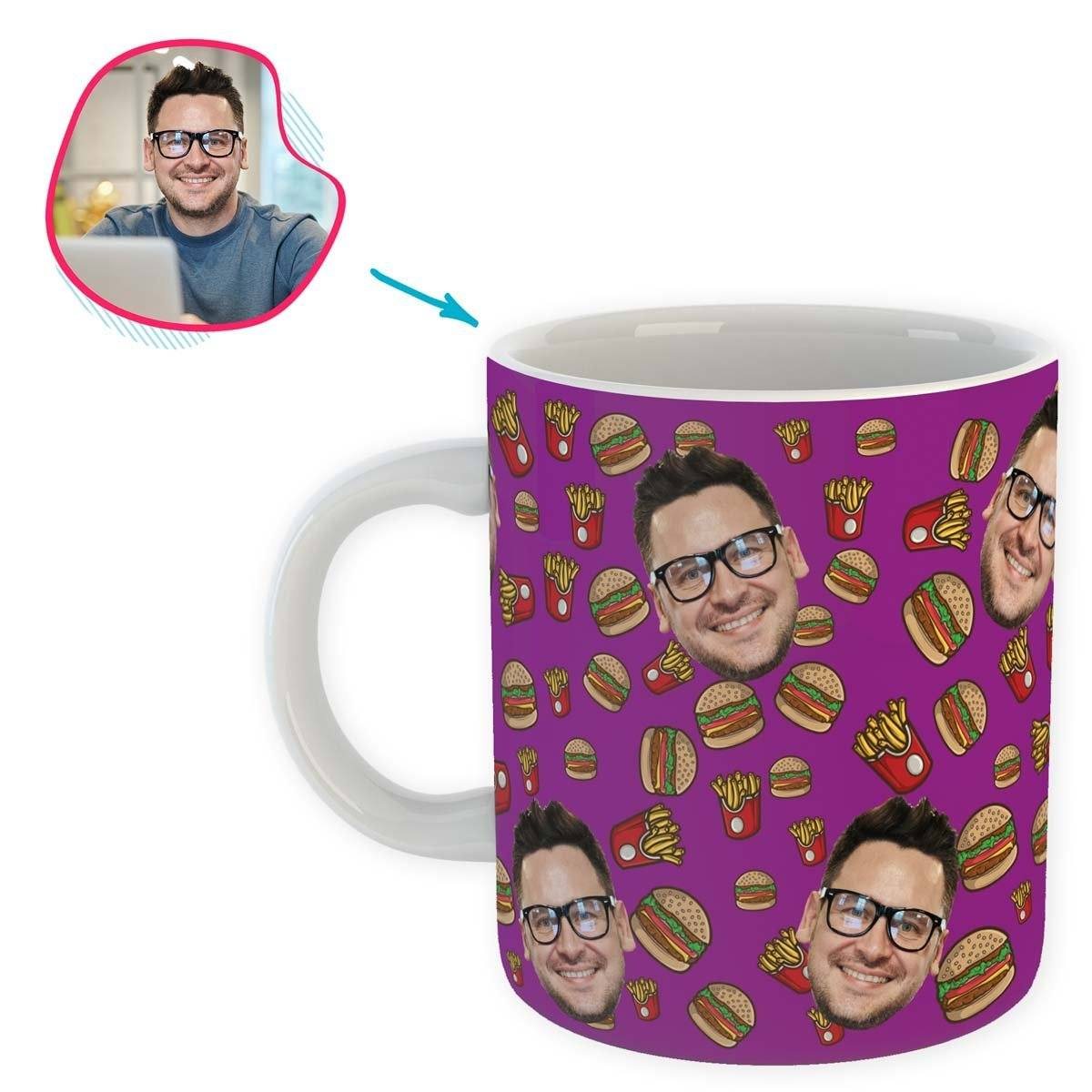 purple Fastfood mug personalized with photo of face printed on it