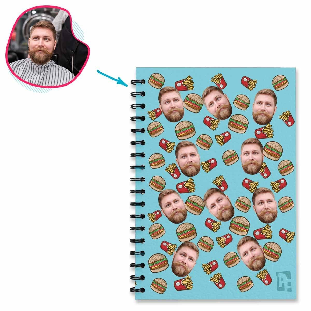 blue Fastfood Notebook personalized with photo of face printed on them