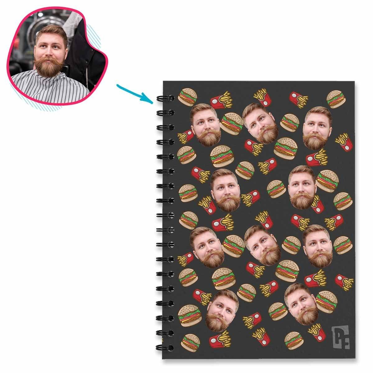 dark Fastfood Notebook personalized with photo of face printed on them