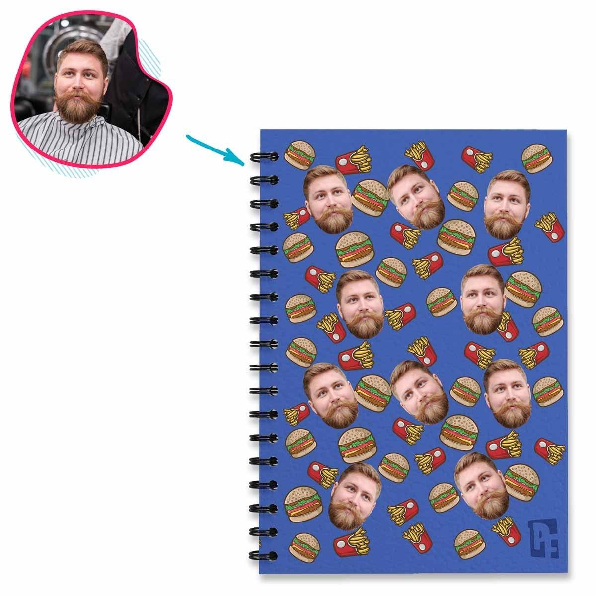 darkblue Fastfood Notebook personalized with photo of face printed on them