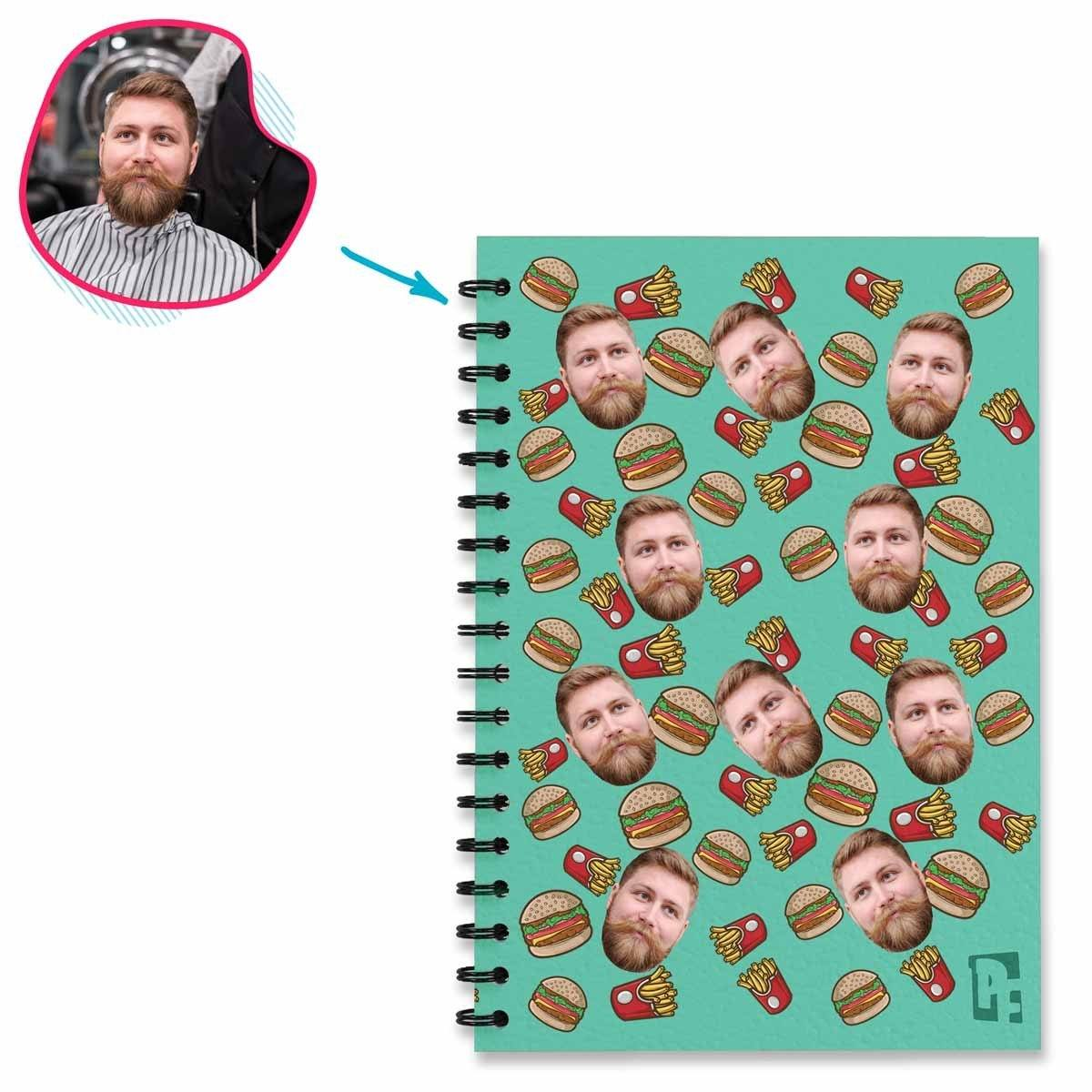mint Fastfood Notebook personalized with photo of face printed on them