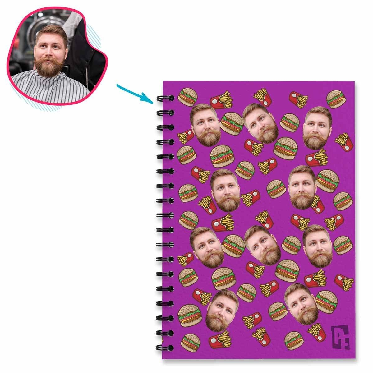 purple Fastfood Notebook personalized with photo of face printed on them