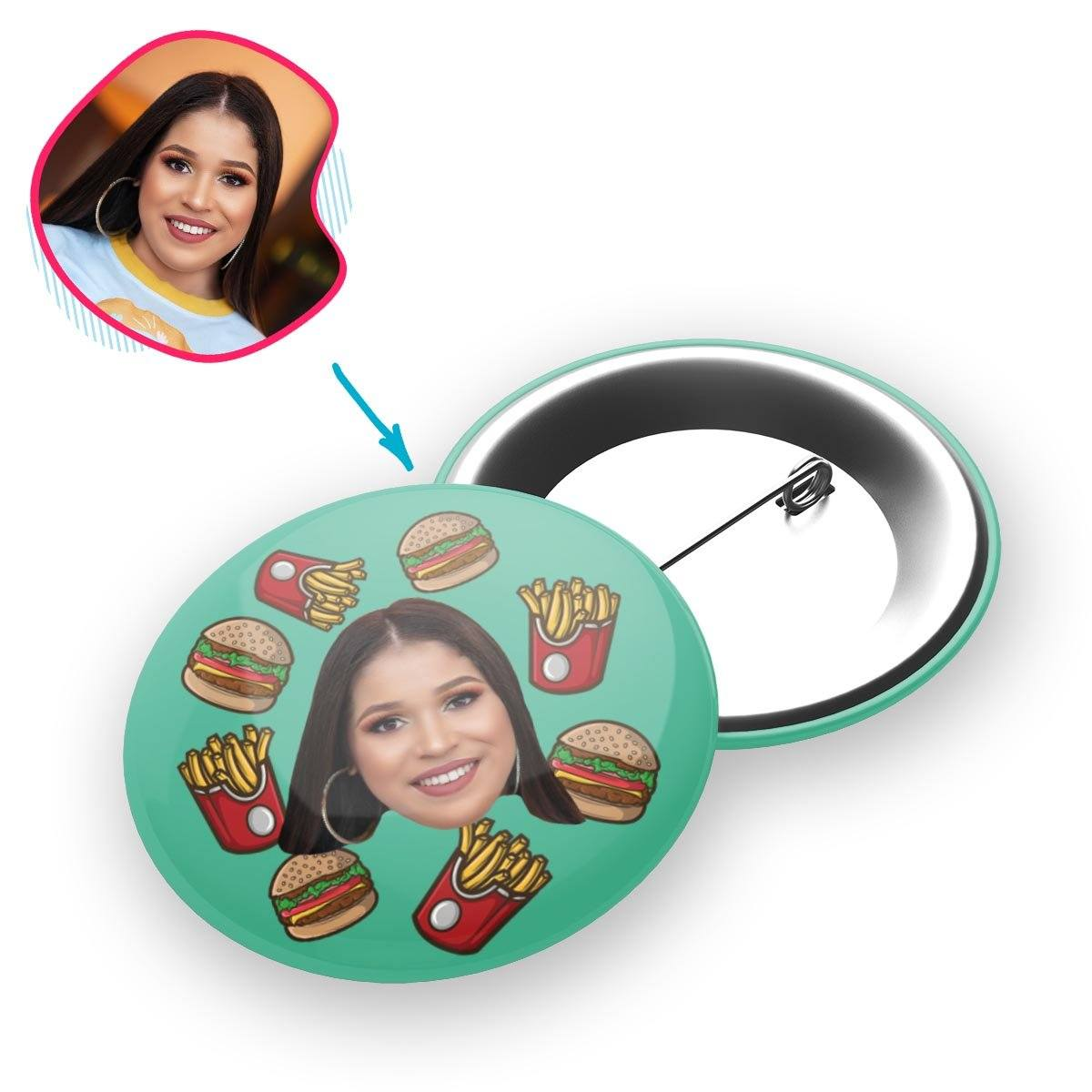 mint Fastfood pin personalized with photo of face printed on it
