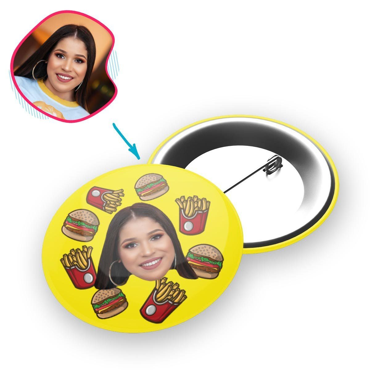 yellow Fastfood pin personalized with photo of face printed on it