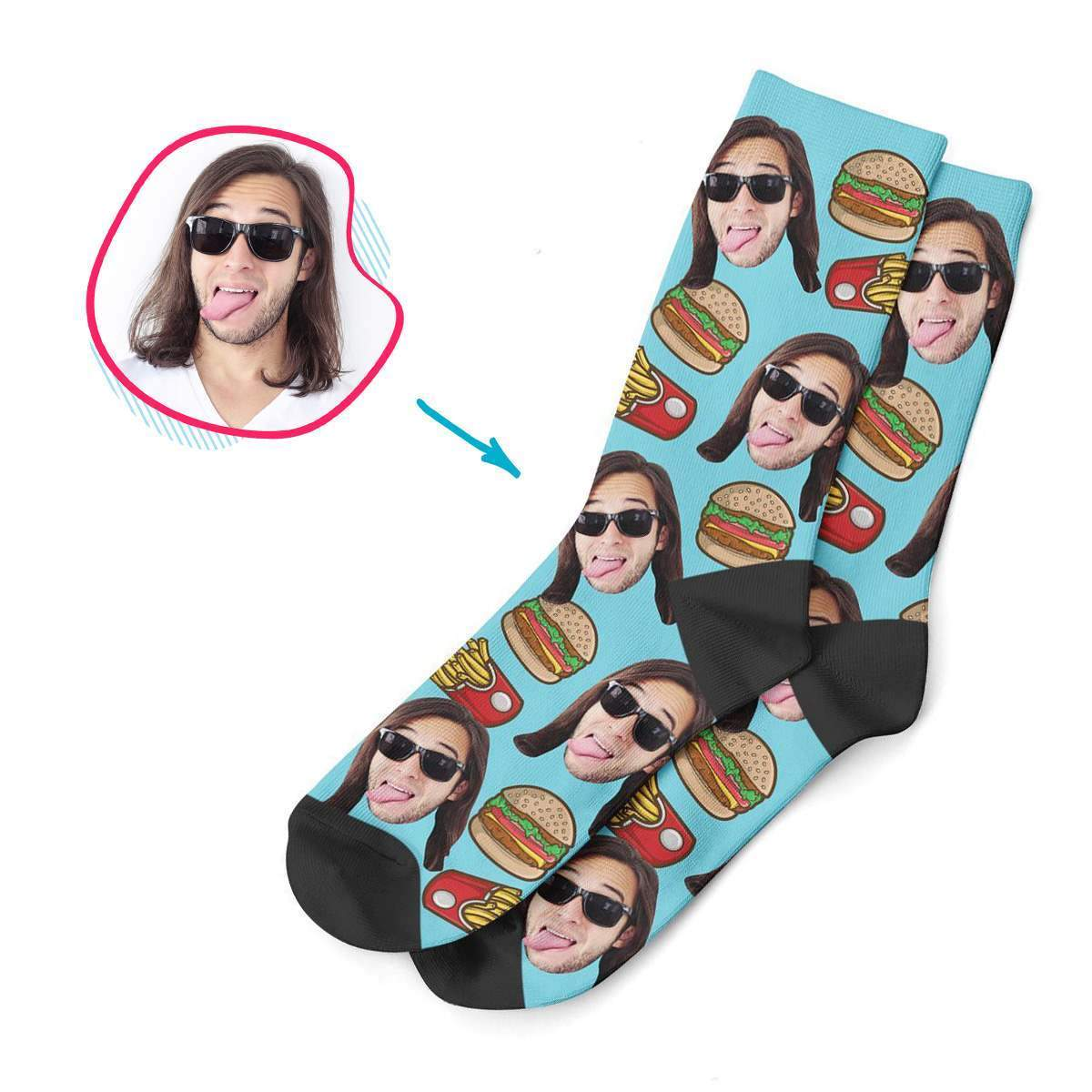 blue Fastfood socks personalized with photo of face printed on them