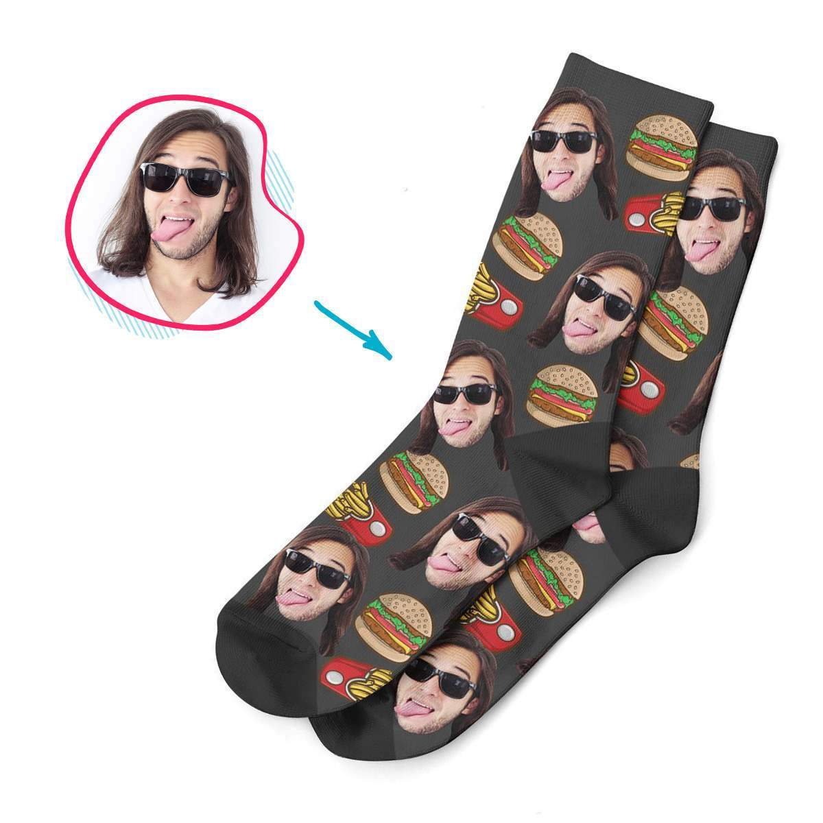 dark Fastfood socks personalized with photo of face printed on them