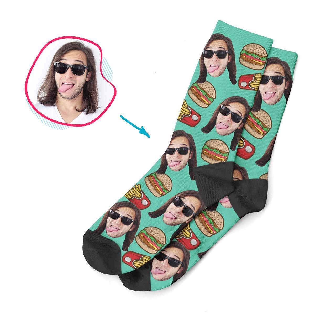 mint Fastfood socks personalized with photo of face printed on them