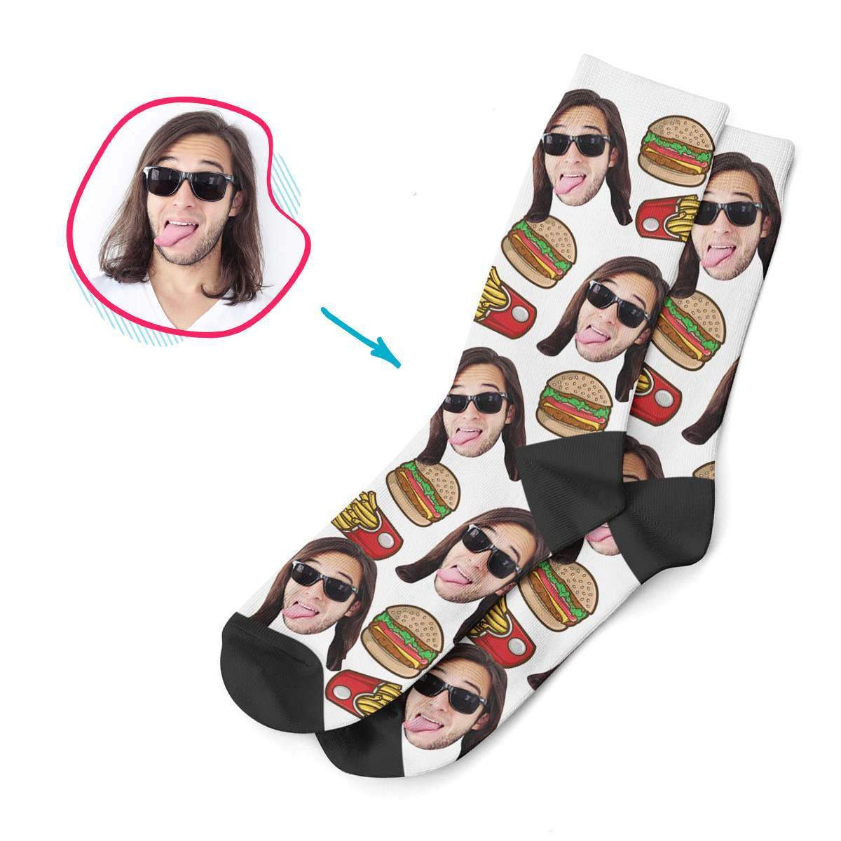 white Fastfood socks personalized with photo of face printed on them