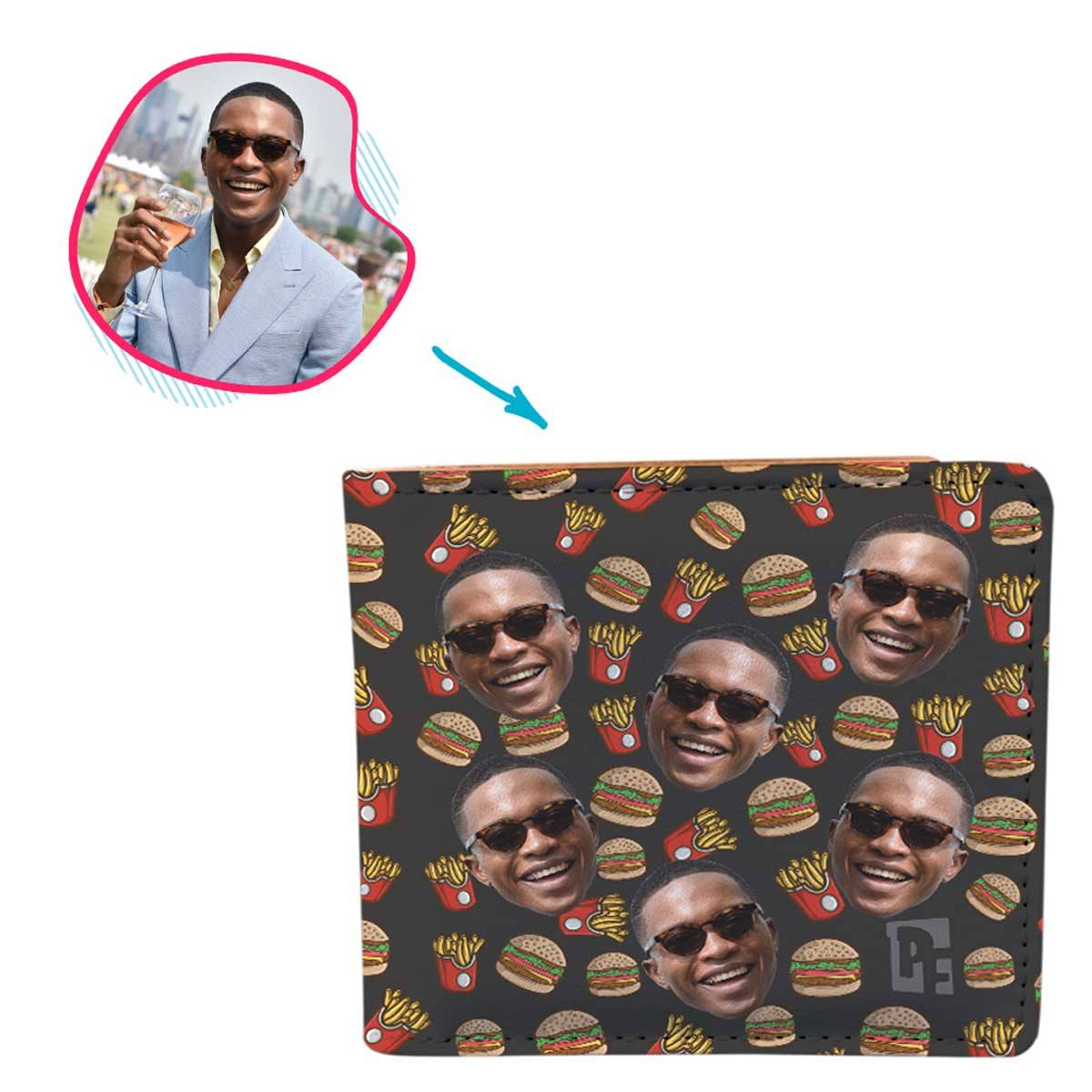 dark Fastfood wallet personalized with photo of face printed on it