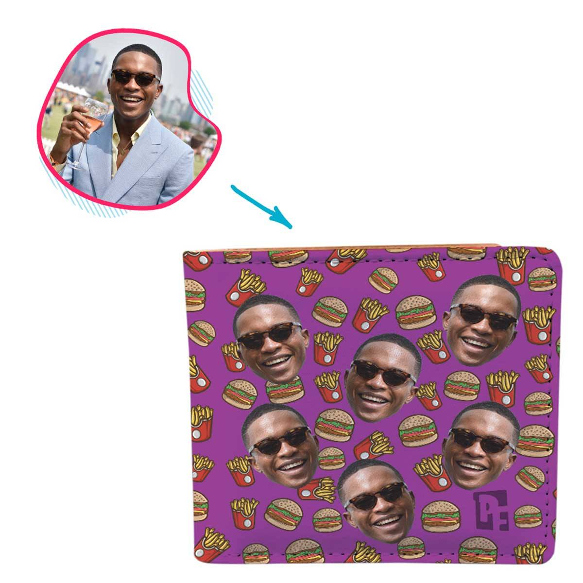 purple Fastfood wallet personalized with photo of face printed on it