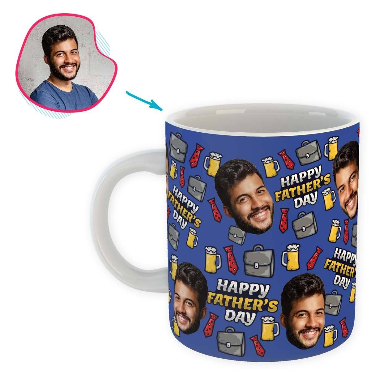 Darkblue Fathers Day personalized mug with photo of face printed on it