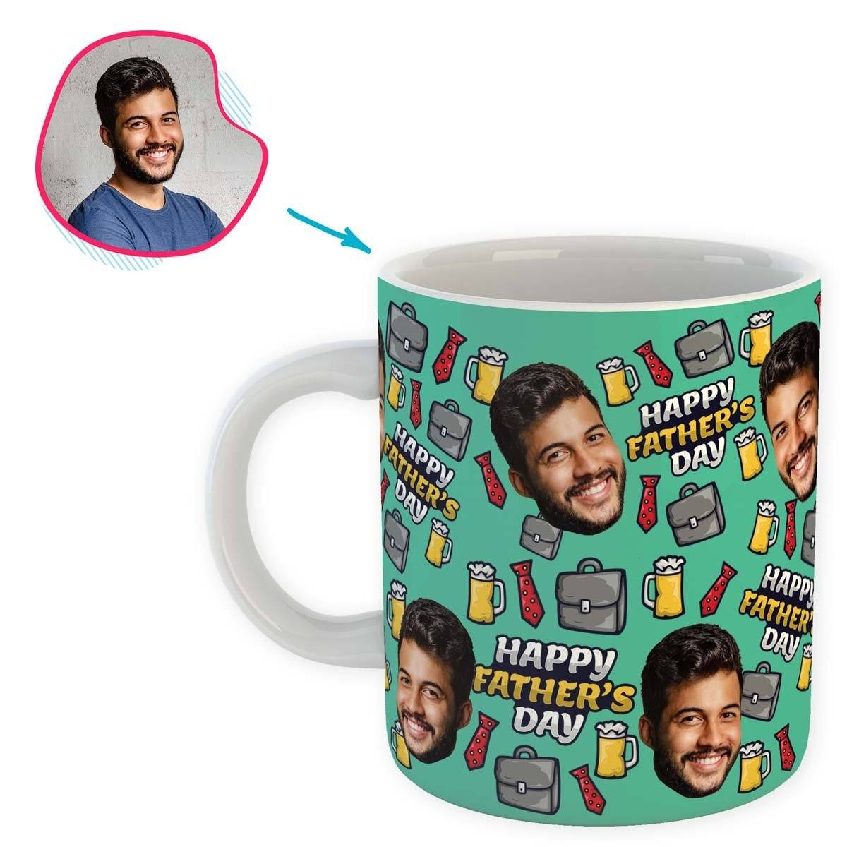 Mint Fathers Day personalized mug with photo of face printed on it