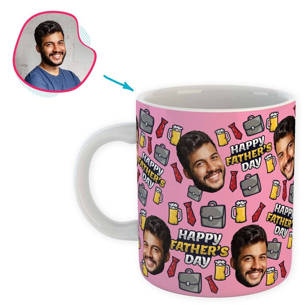 Pink Fathers Day personalized mug with photo of face printed on it