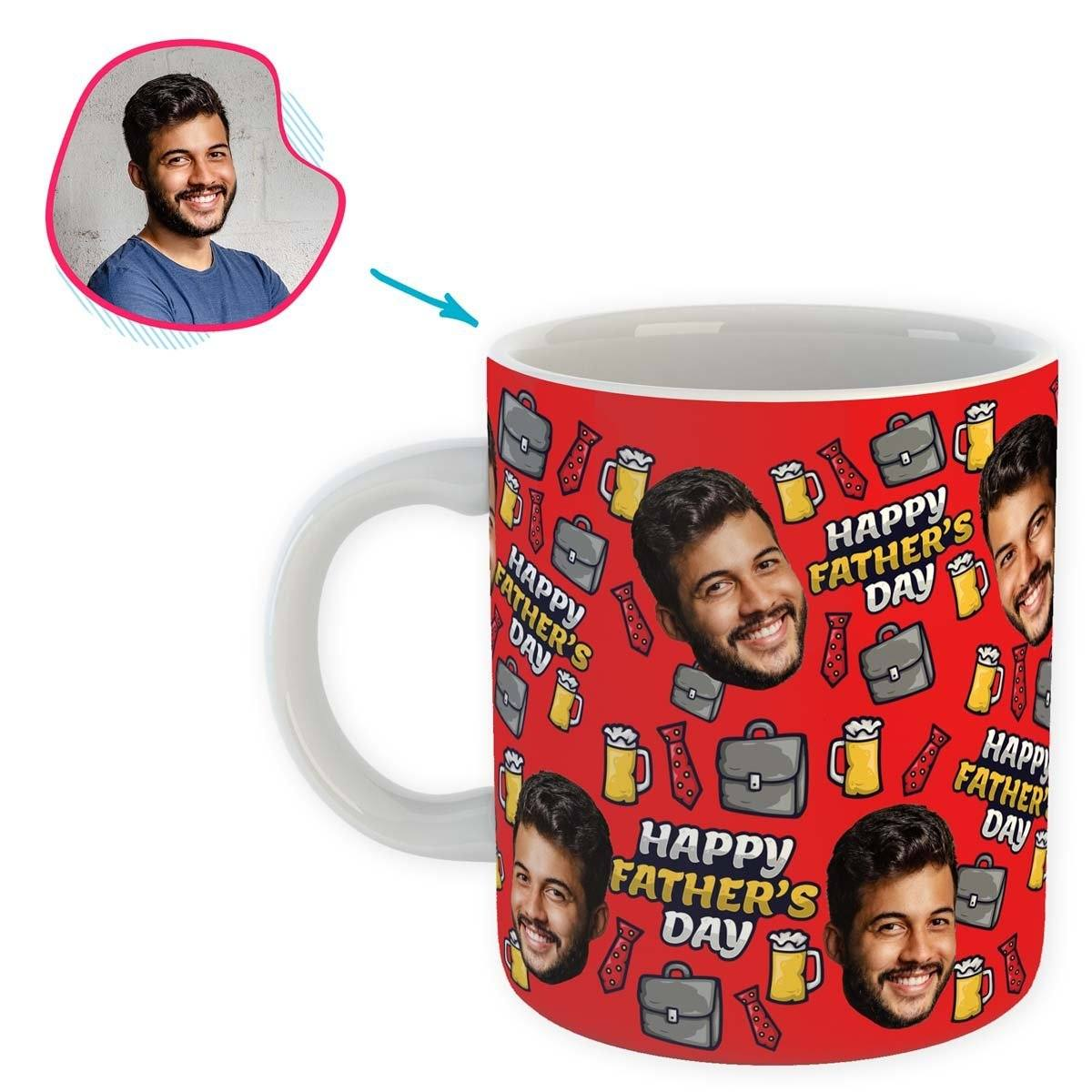 Red Fathers Day personalized mug with photo of face printed on it