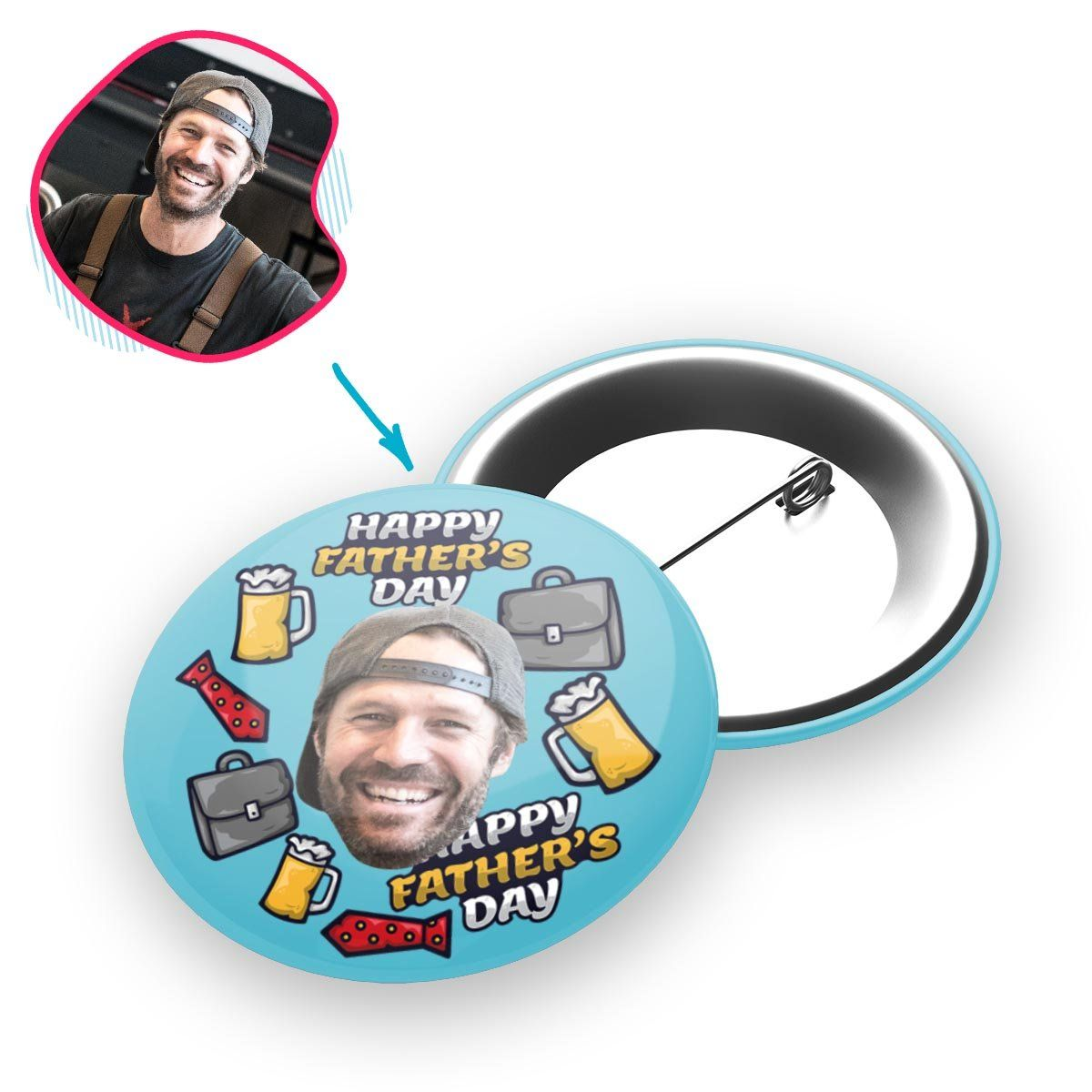 Blue Fathers Day personalized pin with photo of face printed on it