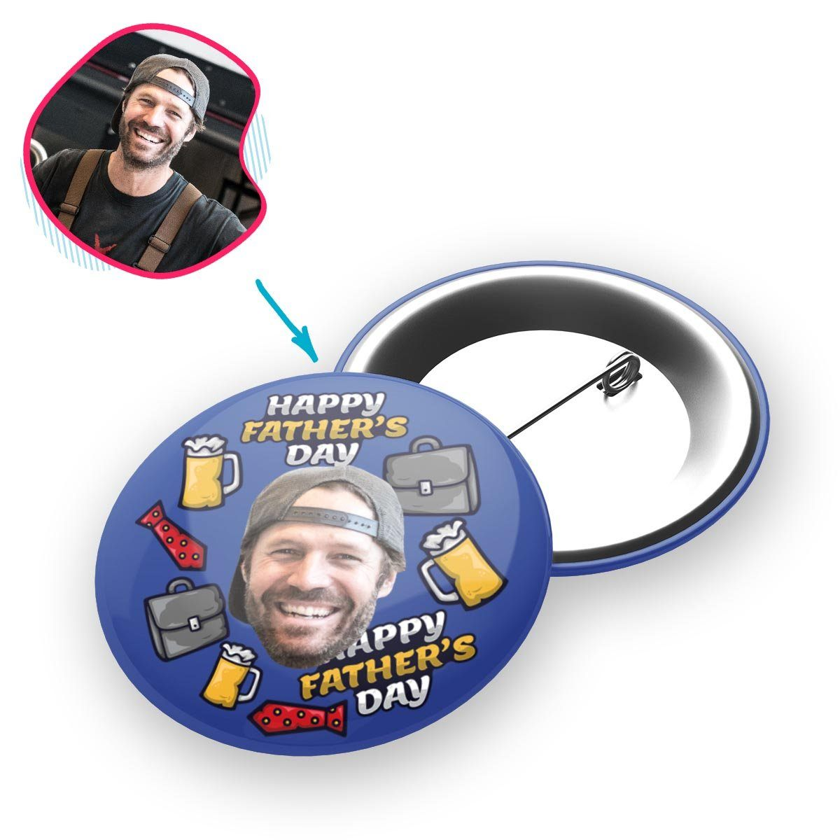 Darkblue Fathers Day personalized pin with photo of face printed on it