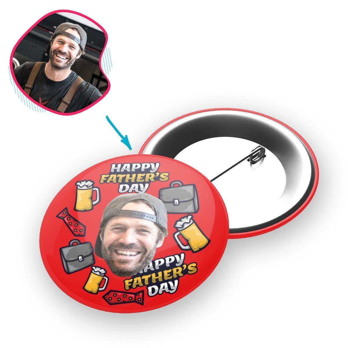Red Fathers Day personalized pin with photo of face printed on it