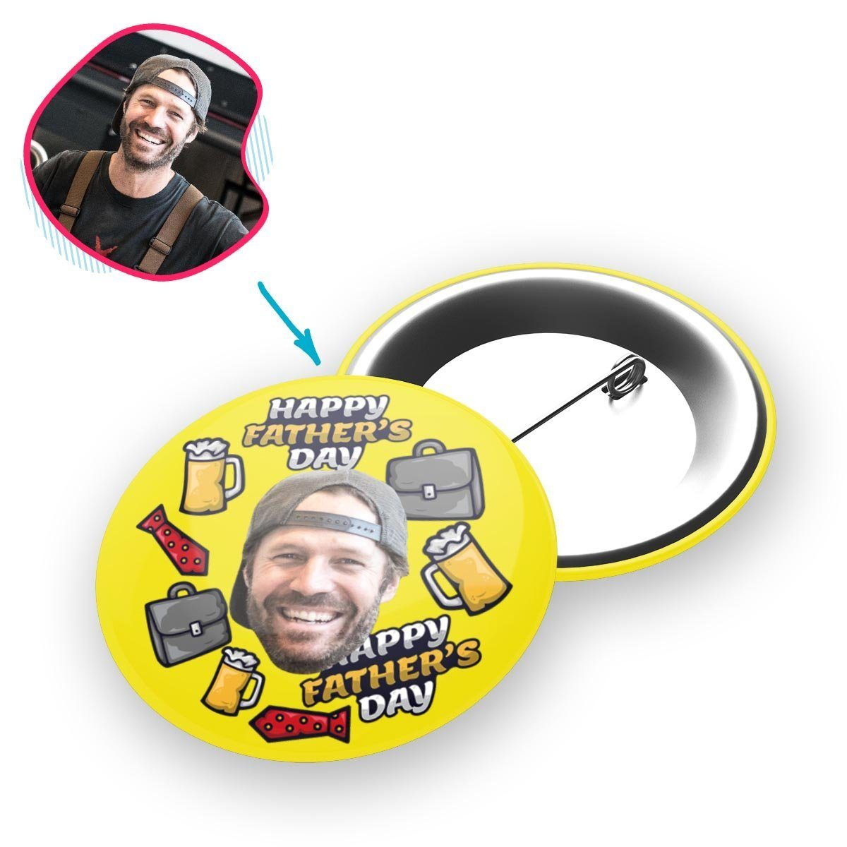 Yellow Fathers Day personalized pin with photo of face printed on it