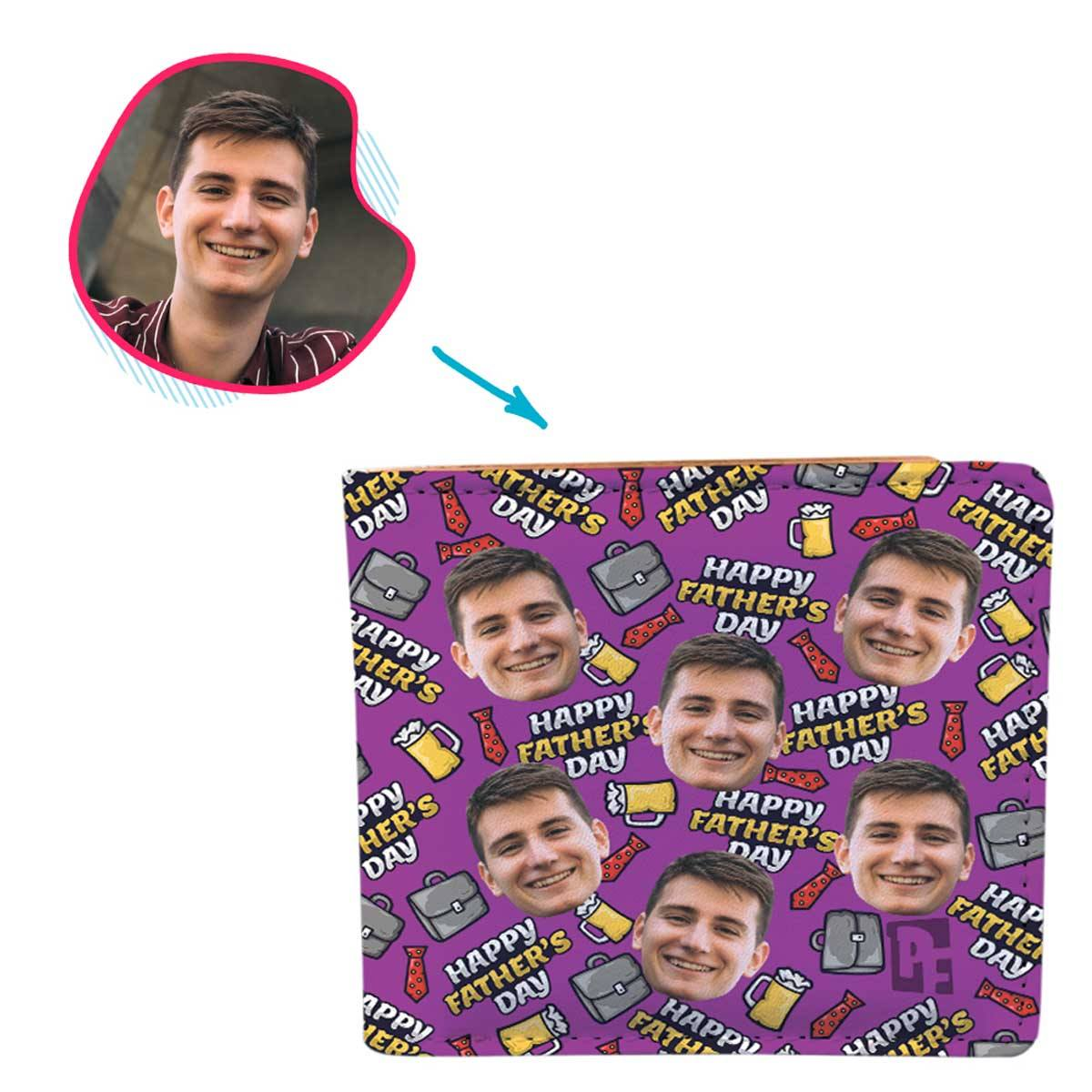 Purple Fathers Day personalized wallet with photo of face printed on it