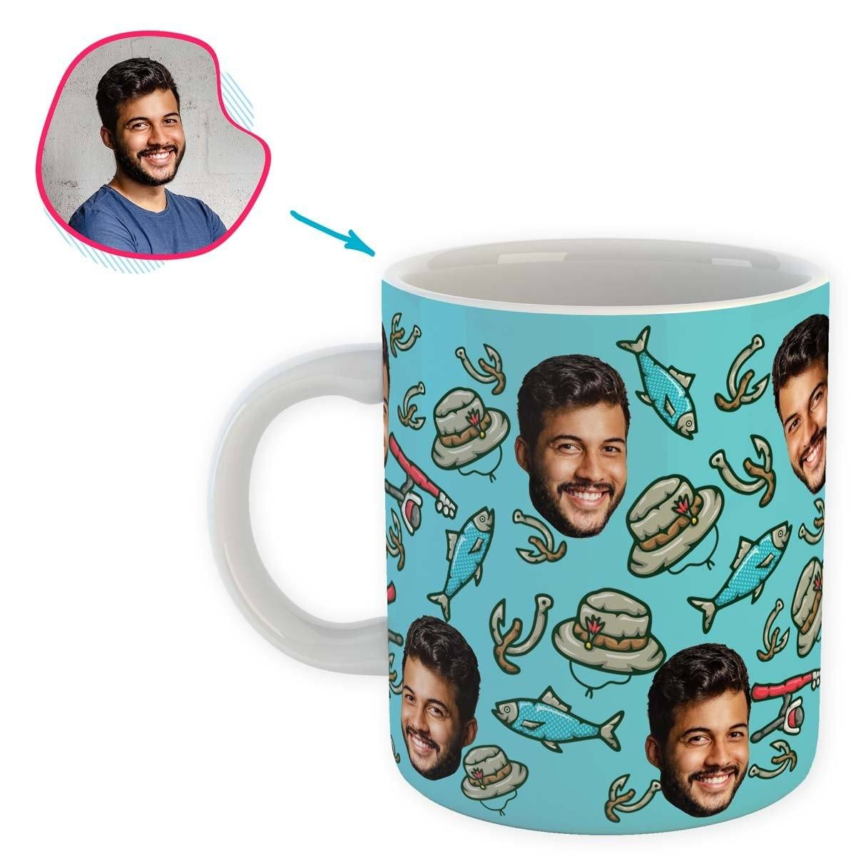 Blue Fishing personalized mug with photo of face printed on it