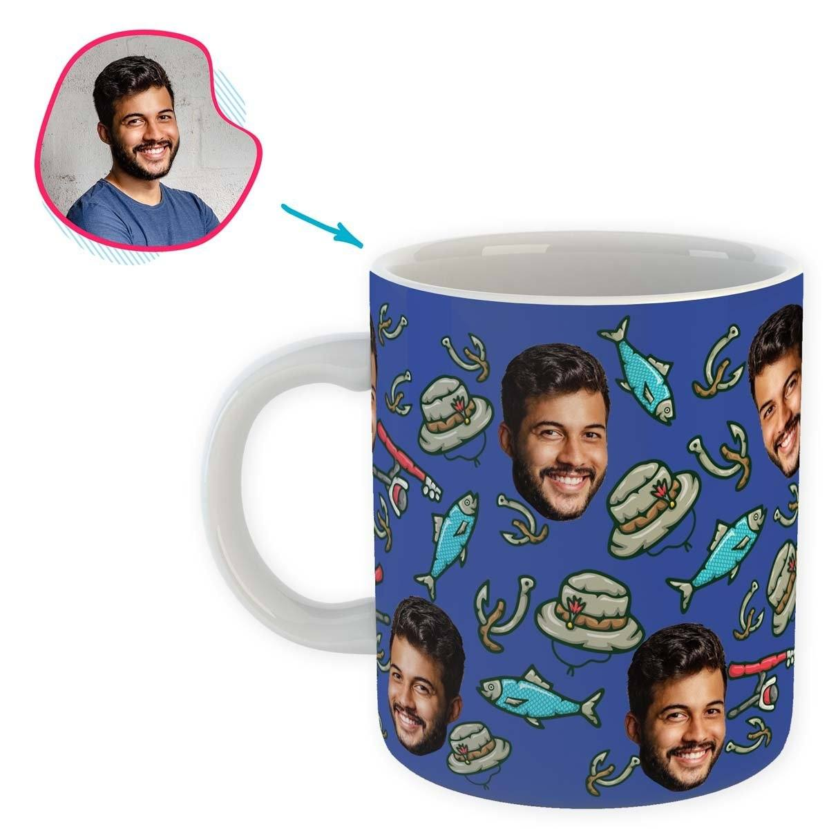 Darkblue Fishing personalized mug with photo of face printed on it