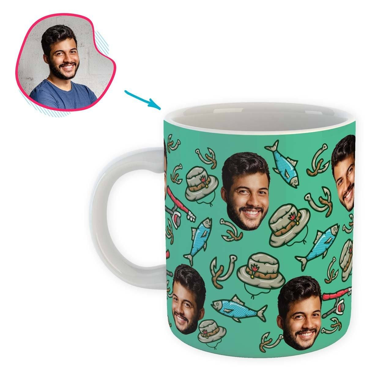Mint Fishing personalized mug with photo of face printed on it