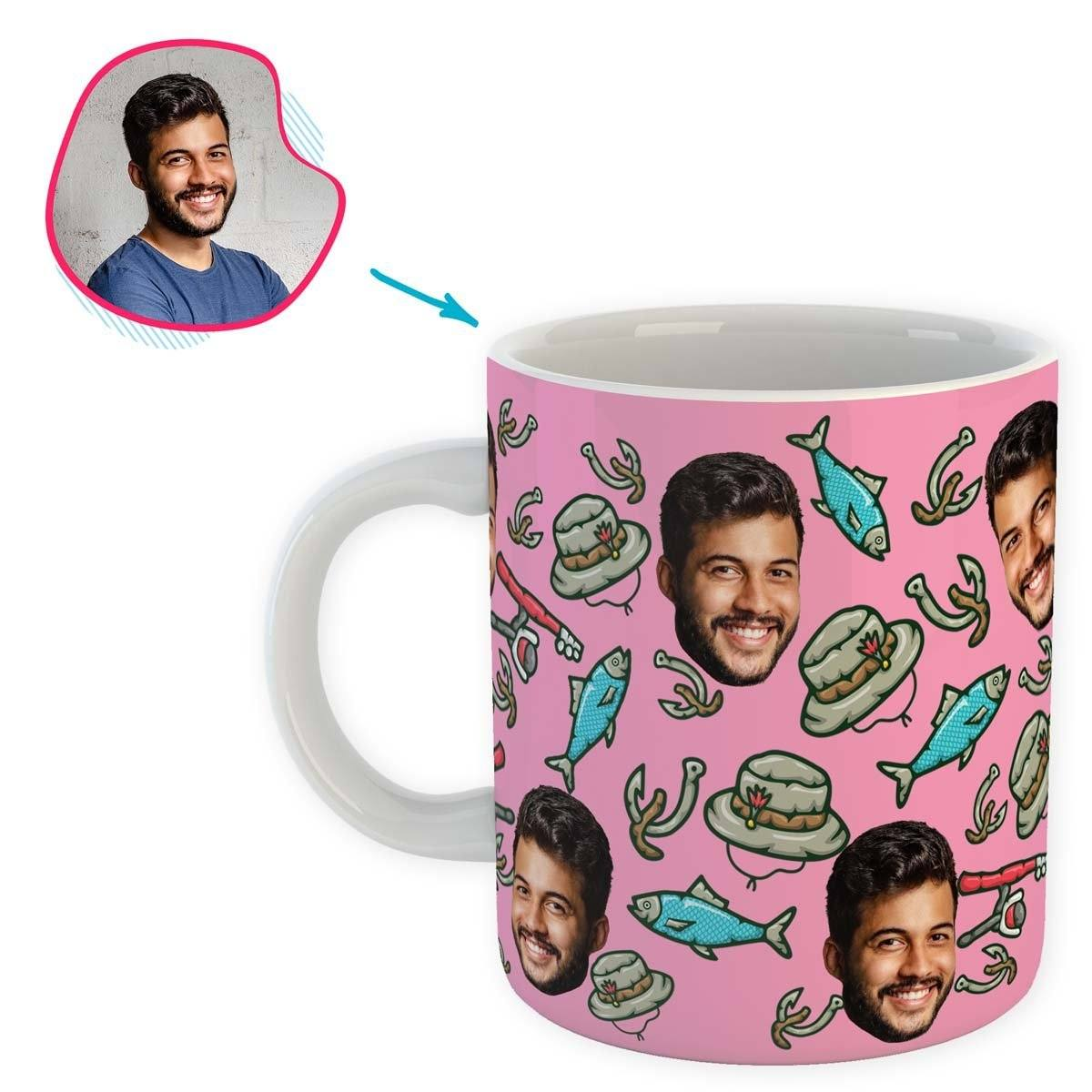 Pink Fishing personalized mug with photo of face printed on it