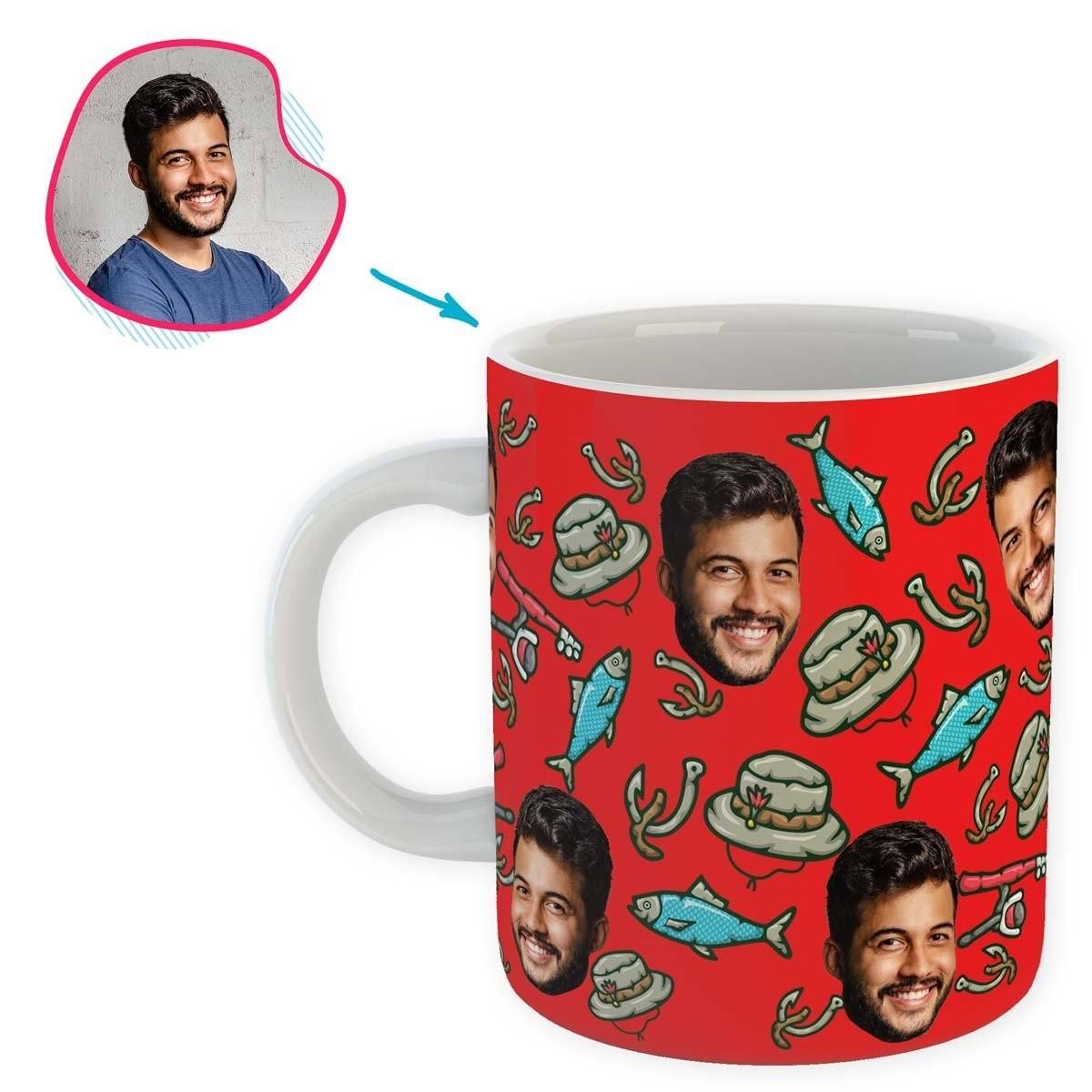 Red Fishing personalized mug with photo of face printed on it