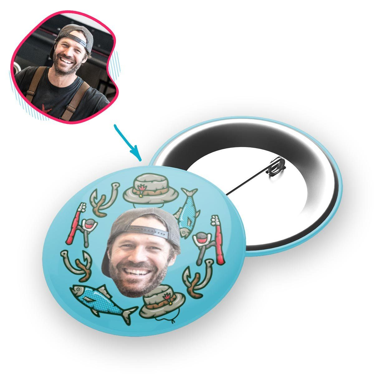 Blue Fishing personalized pin with photo of face printed on it