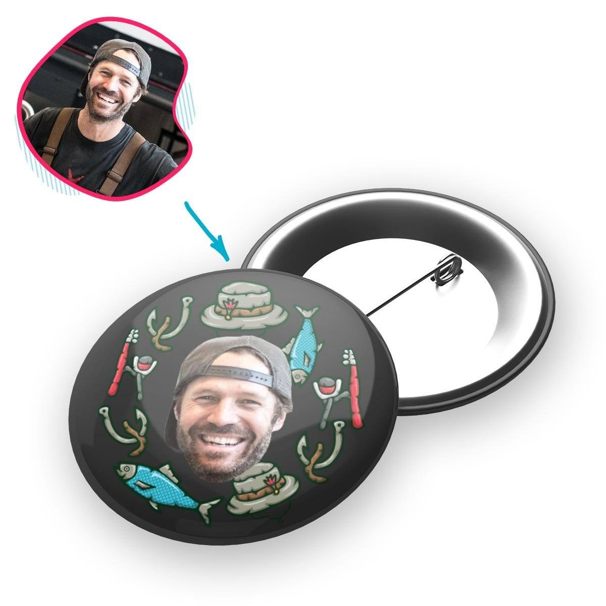 Dark Fishing personalized pin with photo of face printed on it