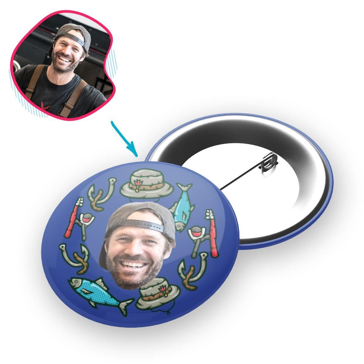 Darkblue Fishing personalized pin with photo of face printed on it