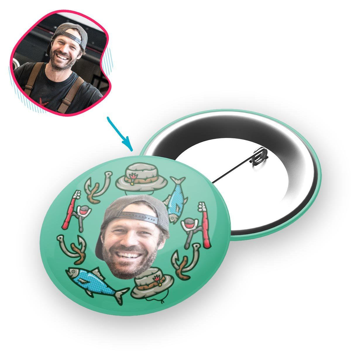Mint Fishing personalized pin with photo of face printed on it