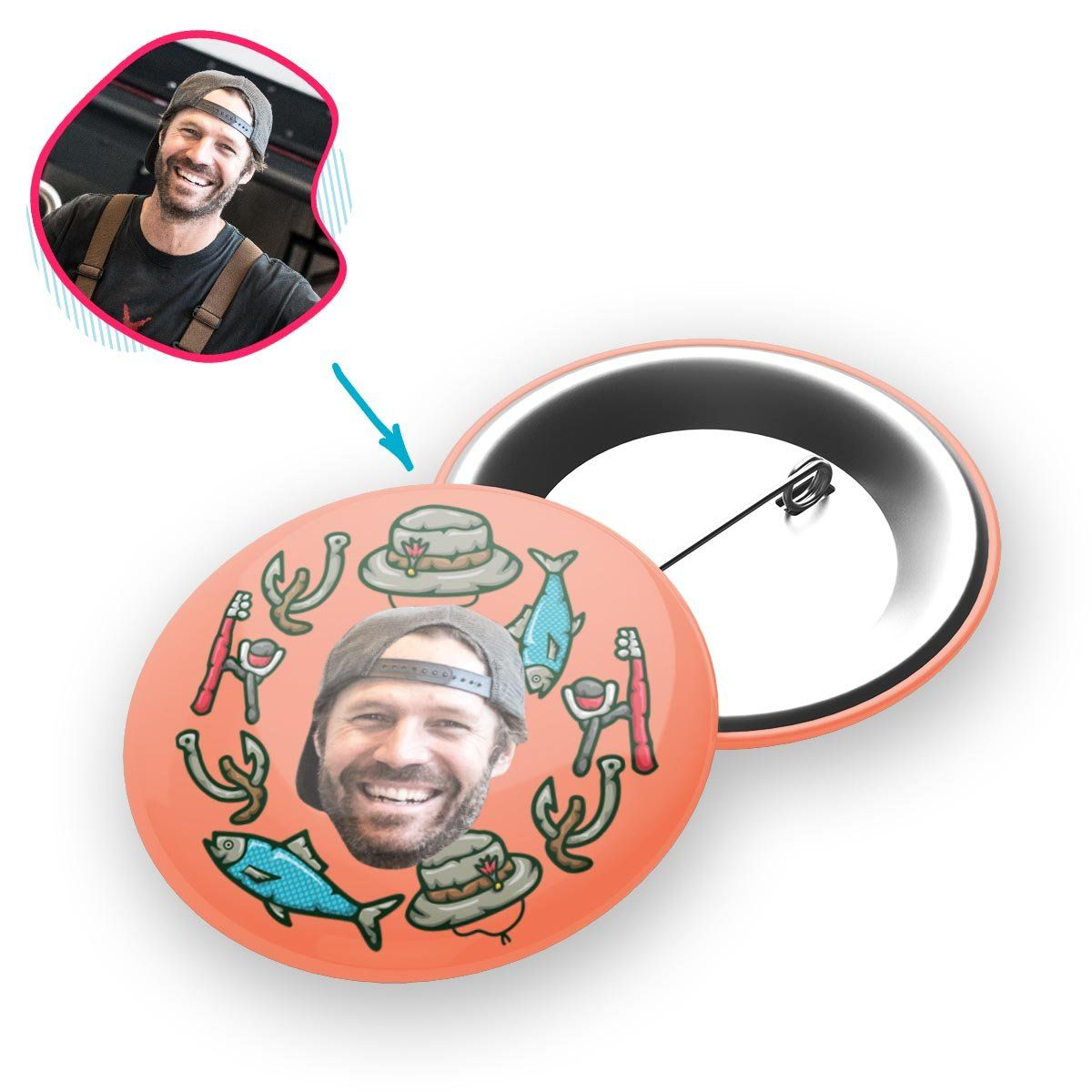 Salmon Fishing personalized pin with photo of face printed on it