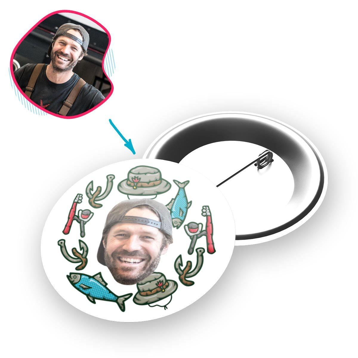 White Fishing personalized pin with photo of face printed on it