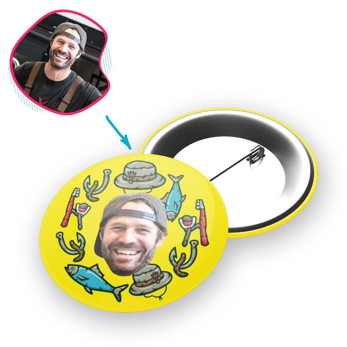 Yellow Fishing personalized pin with photo of face printed on it