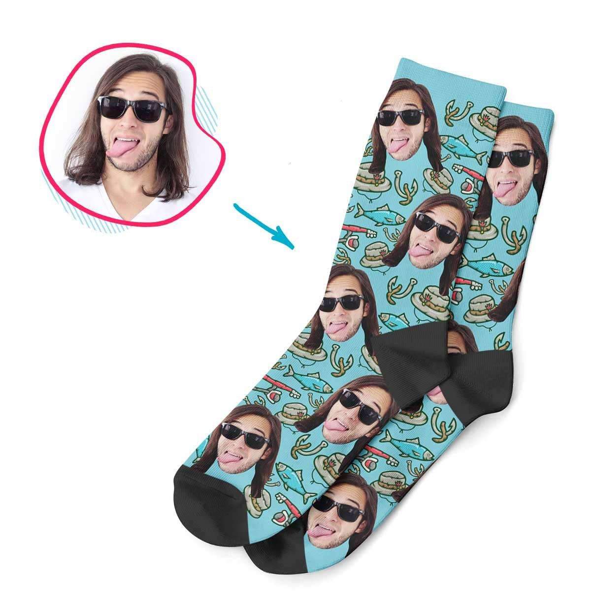 Blue Fishing personalized socks with photo of face printed on them