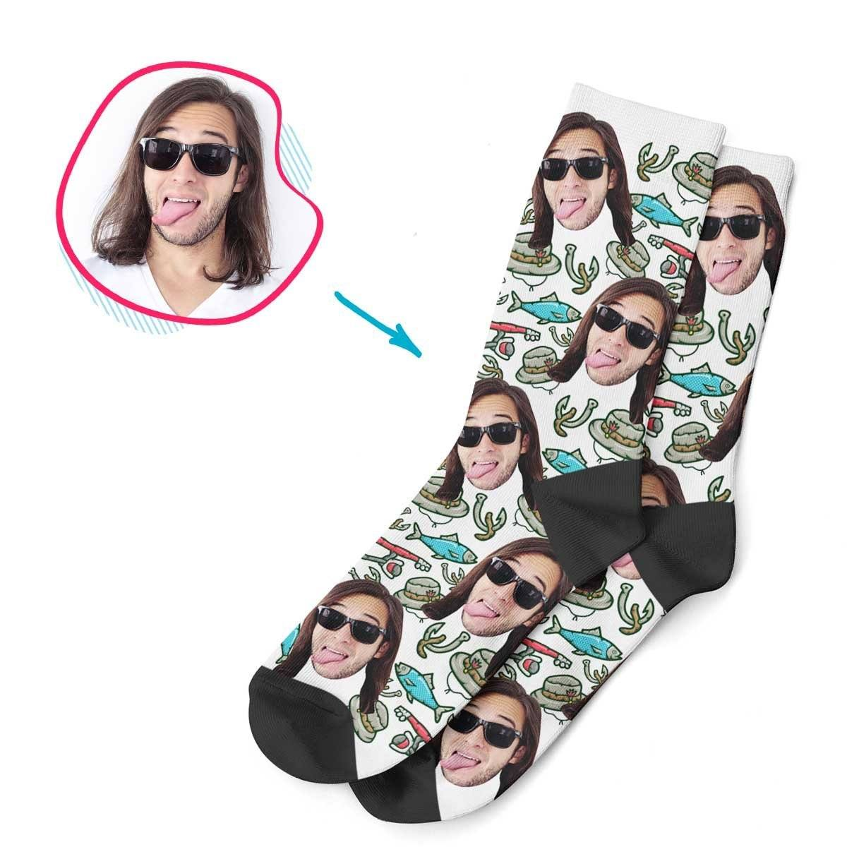 White Fishing personalized socks with photo of face printed on them