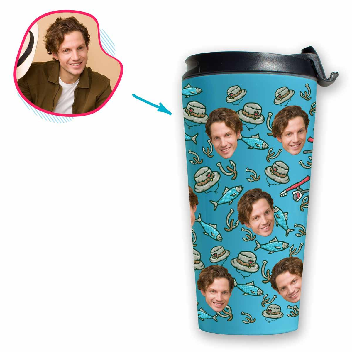 Blue Fishing personalized travel mug with photo of face printed on it