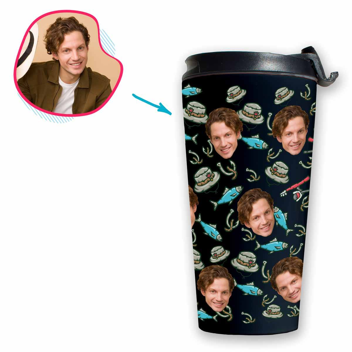Dark Fishing personalized travel mug with photo of face printed on it