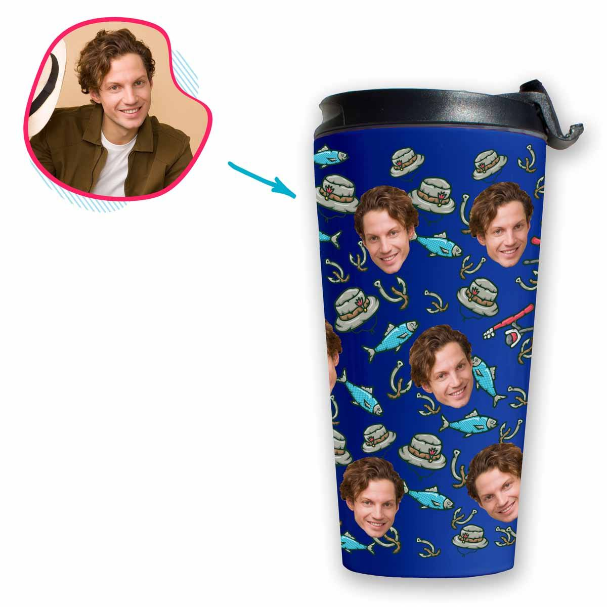 Darkblue Fishing personalized travel mug with photo of face printed on it