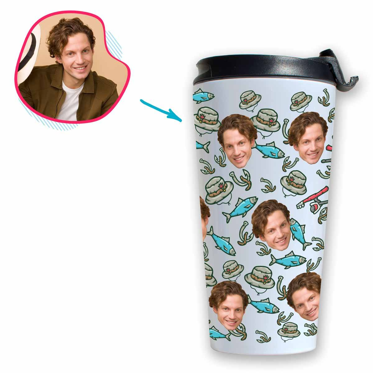 White Fishing personalized travel mug with photo of face printed on it