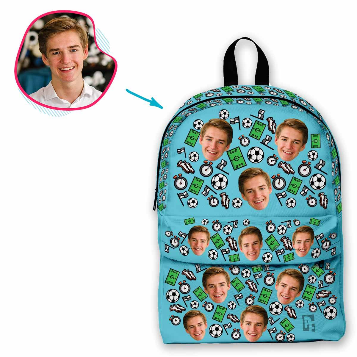 blue Football classic backpack personalized with photo of face printed on it
